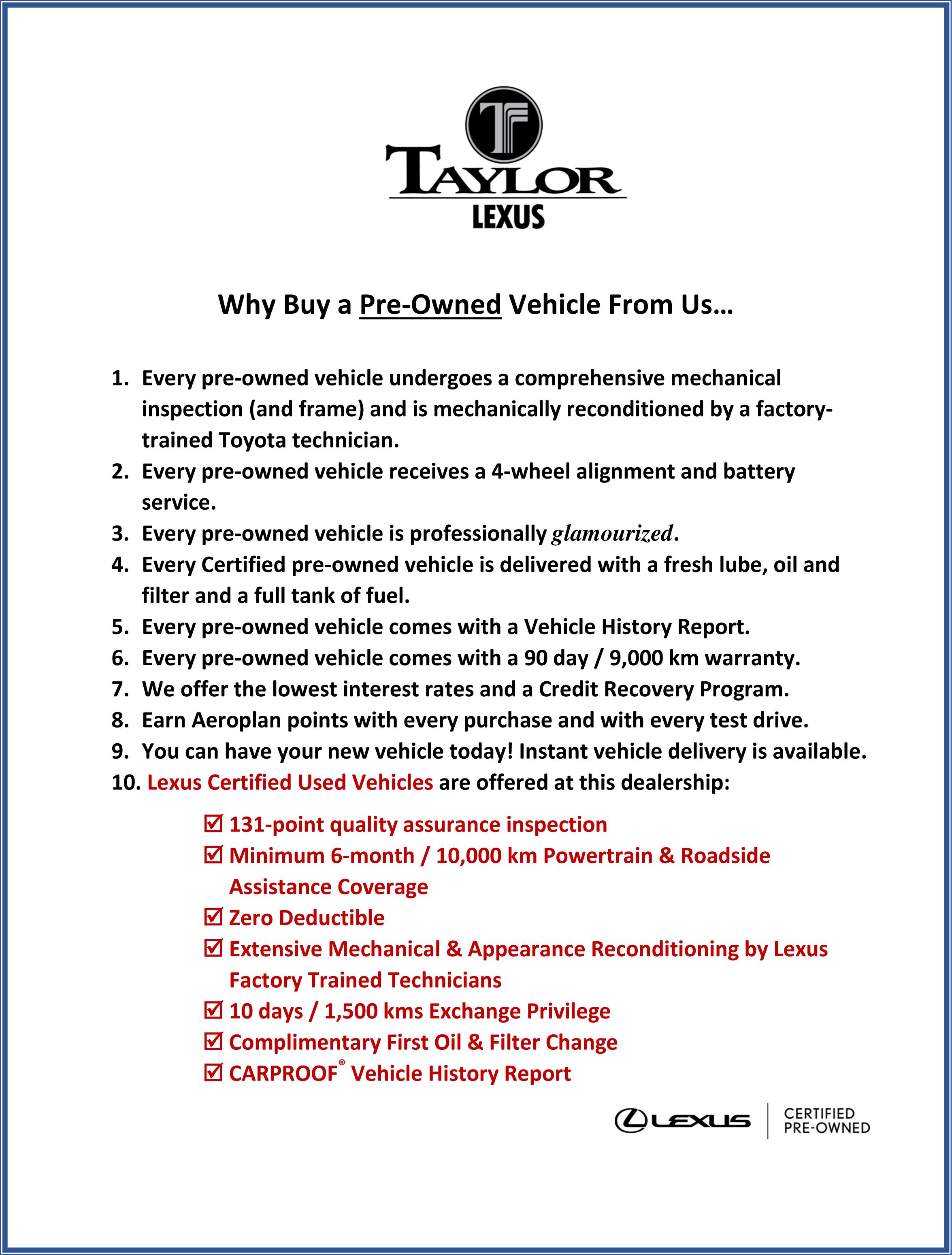 why buy pre-owned - Lexus